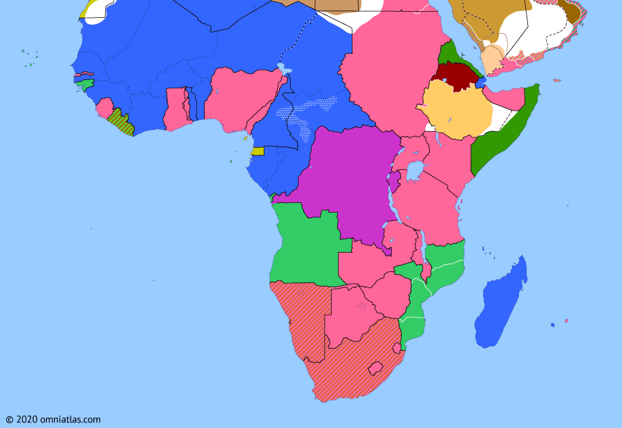 Political map of Sub-Saharan Africa 27 April 1929 (Trans-African Routes): The 1920s saw a consolidation of the European hold over Africa as the colonial powers built railroads and made use of advances in automotive and aeronautical technology to create routes across the continent, both to exploit its resources and promote tourism. To achieve these ends, native populations were often forced into work, leading to revolts such as the Kongo-Wara rebellion in French Equatorial Africa.