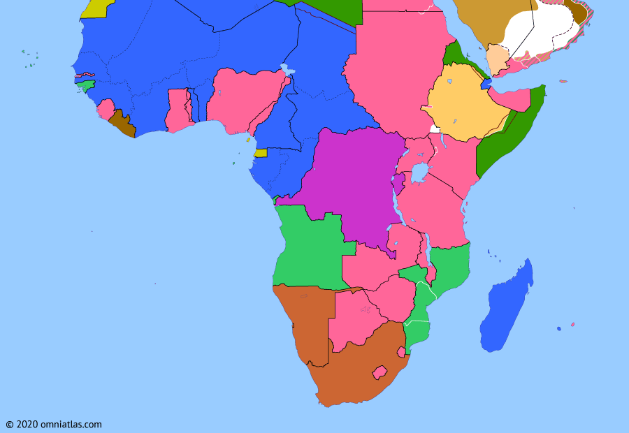 Political map of Sub-Saharan Africa on 16 Jan 1935 (Africa between the World Wars: Abyssinia Crisis), showing the following events: Statute of Westminster; Establishment of Saudi Arabia; Chancellor Adolf Hitler; Sara Triangle; Abyssinia Crisis; Mussolini-Laval Accord; Italian East Africa.