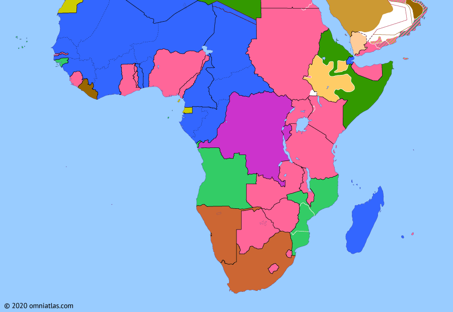 Political map of Sub-Saharan Africa on 09 May 1936 (Africa between the World Wars: Second Italo-Ethiopian War), showing the following events: Hamza Line; Outbreak of Second Italo-Ethiopian War; March of the Iron Will; Italian annexation of Ethiopia.