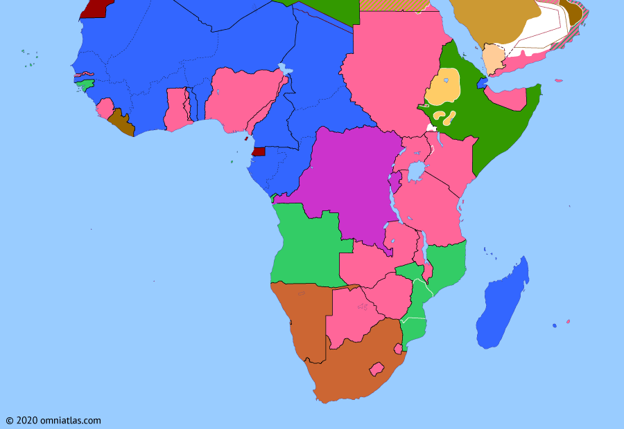 Political map of Sub-Saharan Africa 4 February 1939 (Spanish Civil War in Africa): In July 1936 the Spanish Civil War broke out, with the Spanish Nationalists quickly seizing power in Spanish Morocco (July 1936 military uprising in Melilla). The rest of Spain's African empire soon followed suit and by mid-October the Nationalists were in control of the Spanish colonies in the Sahara (Spanish Sahara) and Guinea (Spanish Guinea).