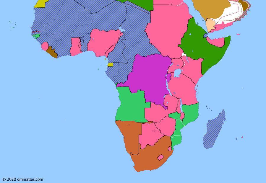 Political map of Sub-Saharan Africa on 24 Jun 1940 (World War II in Africa: World War II and the Fall of France), showing the following events: Germany invasion of Poland; Declaration of War on Germany; South Africa enters World War II; Belgian Congo in WWII; Italian entry into World War II; Invasion of French Somaliland; Second Armistice at Compiègne.