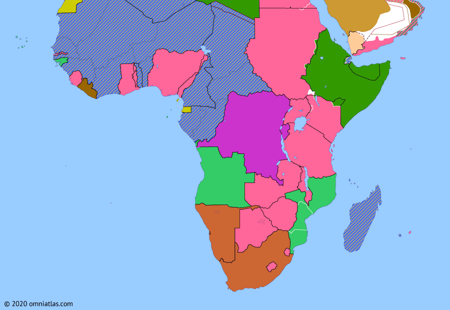 Political map of Sub-Saharan Africa on 19 Aug 1940 (World War II in Africa: Italian East African Offensives), showing the following events: Operation Catapult; Capture of Kassala; Capture of Moyale; Italian conquest of British Somaliland.