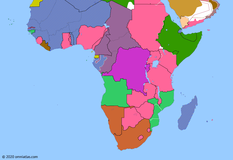 Political map of Sub-Saharan Africa 8 November 1940 (Battle of Gabon): While the rest of French Equatorial Africa declared for the Free French in August 1940, Gabon remained loyal to the collaborationist Vichy French. In October Charles de Gaulle ordered its invasion, conquering Gabon for Free France in a month-long campaign (Battle of Gabon).