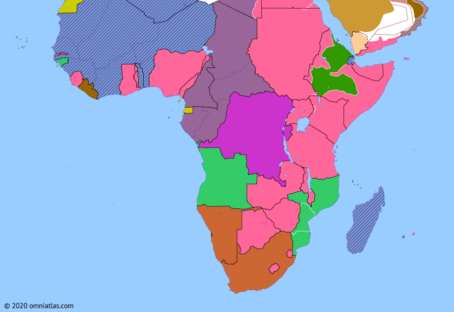 Political map of Sub-Saharan Africa on 06 Apr 1941 (World War II in Africa: Liquidation of Italian East Africa), showing the following events: Operation Appearance; Operation Sunflower; Surrender of Addis Ababa.