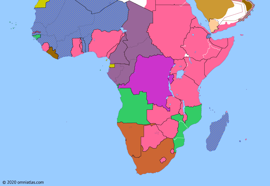 Political map of Sub-Saharan Africa on 07 May 1942 (World War II in Africa: Operation Ironclad), showing the following events: Operation Barbarossa; Battle of Gondar; Operation Crusader; Attack on Pearl Harbor; Operations Theseus; Anglo–Ethiopian Agreement; Wideawake field; Indian Ocean Raid; Operation Ironclad.