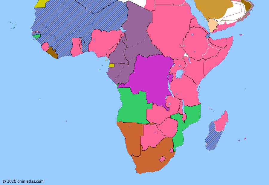 Political map of Sub-Saharan Africa on 29 Sep 1942 (World War II in Africa: Occupation of Madagascar), showing the following events: Japanese raid on Madagascar; Battle of Midway; Operation Aïda; Operation Throat; Operation Stream Line Jane; Laconia incident; Occupation of Comoros.