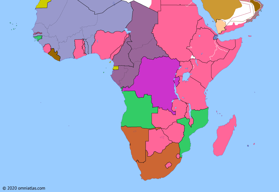 Political map of Sub-Saharan Africa on 23 Nov 1942 (World War II in Africa: Three French Empires), showing the following events: Second Battle of El Alamein; Operation Torch; Case Anton; Darlan deal; French West Africa joins Allies.