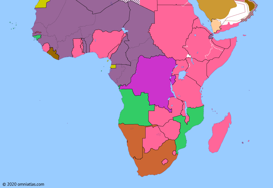 Political map of Sub-Saharan Africa on 03 Jun 1943 (World War II in Africa: French Committee of National Liberation), showing the following events: Battle of Réunion; Liberation of French Somaliland; Assassination of Darlan; Free French Madagascar; Casablanca Conference; Fall of Tunis; French Committee of National Liberation.
