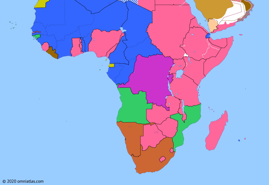Political map of Sub-Saharan Africa on 25 Aug 1944 (World War II in Africa: From Africa to Paris), showing the following events: Operation Husky; Armistice of Cassibile; Cairo Conference; Liberia enters World War II; Brazzaville Conference; D-Day; Liberation of Paris.