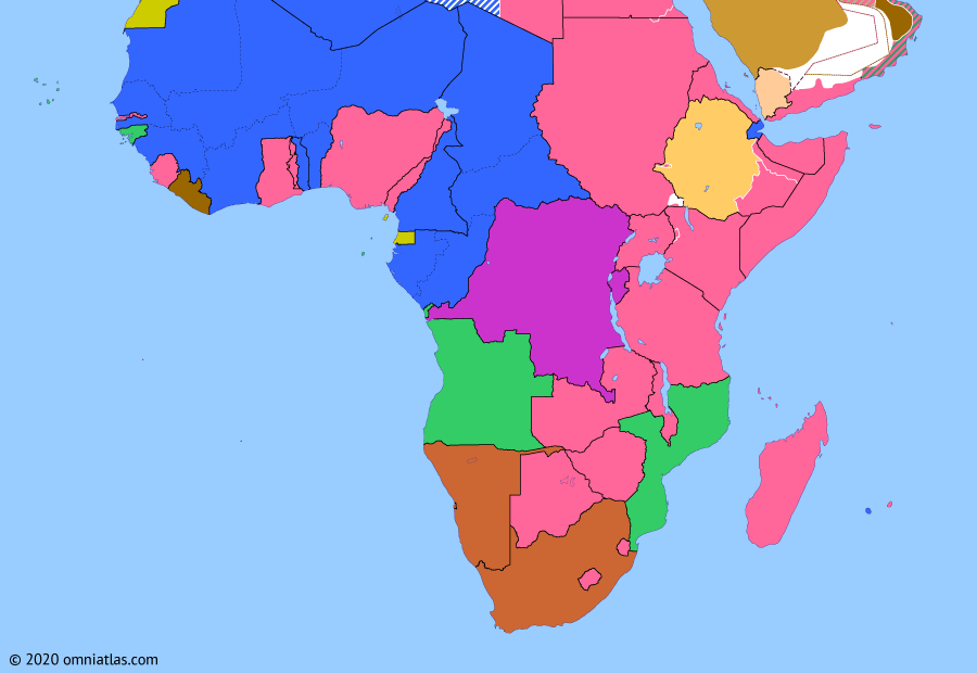 Political map of Sub-Saharan Africa on 15 Aug 1945 (World War II in Africa: End of World War II), showing the following events: 1944 Anglo–Ethiopian Agreement; Saudi Arabia enters World War II; German Instrument of Surrender; Jewel Voice Broadcast.