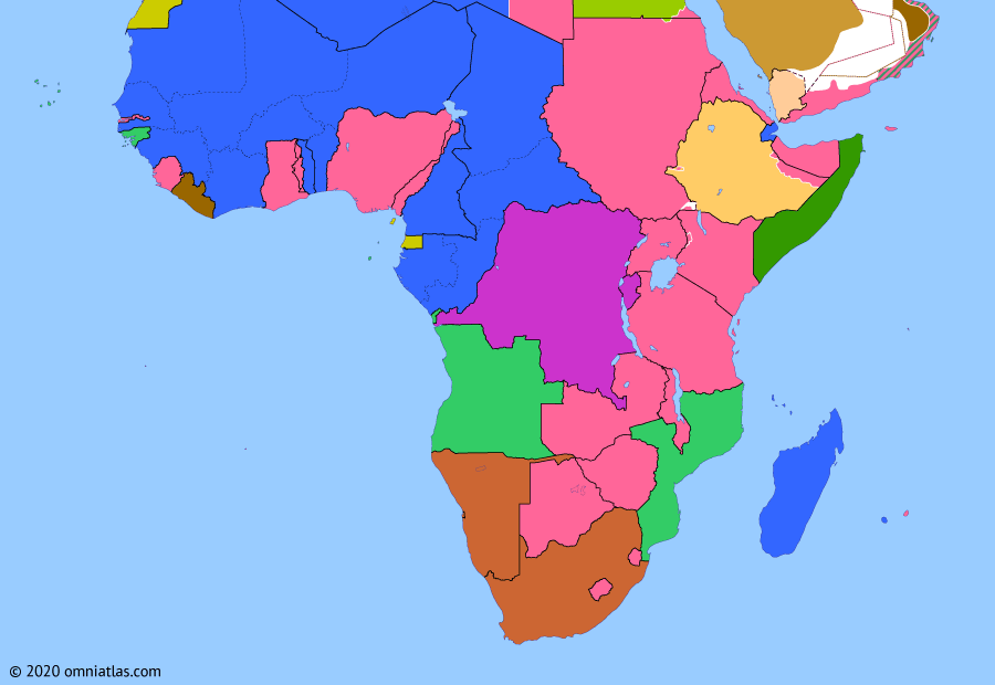 Political map of Sub-Saharan Africa on 01 Apr 1950 (Wind of Change: United Nations Trust Territories), showing the following events: Indian Independence; Apartheid; Restoration of the Ogaden; Trust Territory of Somaliland.