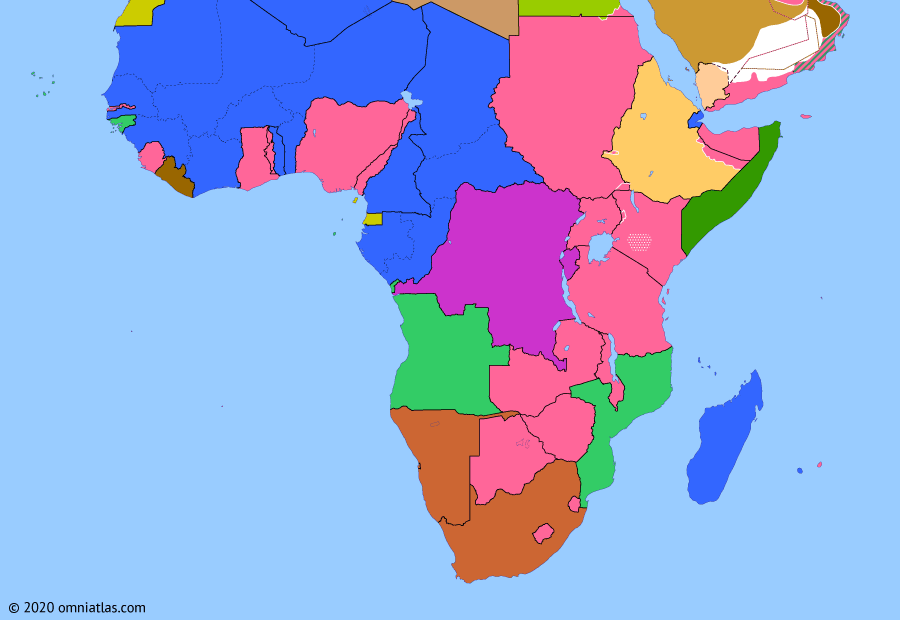 Political map of Sub-Saharan Africa on 25 Mar 1953 (Wind of Change: Mau Mau Uprising), showing the following events: Pluricontinentalism; Libyan independence; Ethiopian–Eritrean Federation; Mau Mau Uprising.