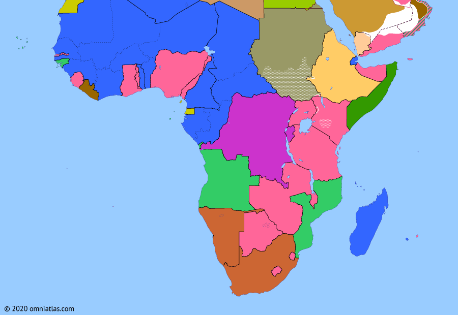 Political map of Sub-Saharan Africa 1 January 1956 (Independence of Sudan): In 1953 Egyptian revolutionaries (1952 Egyptian revolution) deposed the last King of Egypt and the Sudan (Fuad II of Egypt), signing a treaty with the British the next year to end the Anglo-Egyptian condominium over Sudan (Anglo-Egyptian Sudan). As agreed in the treaty, Sudan became an independent sovereign state on 1 January 1956 (Independence of Sudan). However, even before it had gained independence, Sudan faced civil war as the culturally distinct southern Sudanese revolted against control by the north (First Sudanese Civil War).