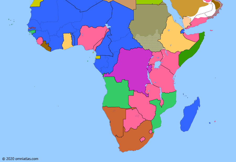 Political map of Sub-Saharan Africa on 06 Mar 1957 (Wind of Change: Independence of Ghana), showing the following events: Independence of Morocco; Tunisian Independence; Togoland status plebiscite; Suez Crisis; Independence of Ghana.