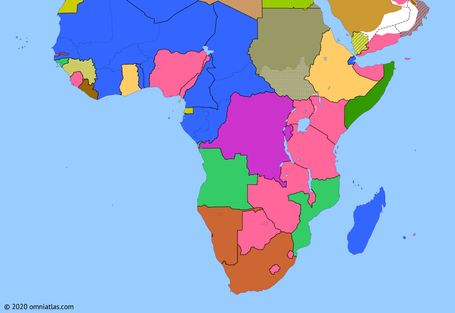 Political map of Sub-Saharan Africa on 02 Oct 1958 (Wind of Change: Independence of Guinea), showing the following events: United Arab Republic; United Arab States; French Community Referendum; Independence of Guinea.