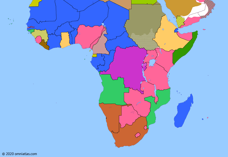 Political map of Sub-Saharan Africa on 03 Feb 1960 (Wind of Change: Year of Africa begins), showing the following events: Ghana-Guinea Union; End of French West Africa; End of French Equatorial Africa; Mali Federation; Rwandan Revolution; Independence of Cameroon; Wind of Change.