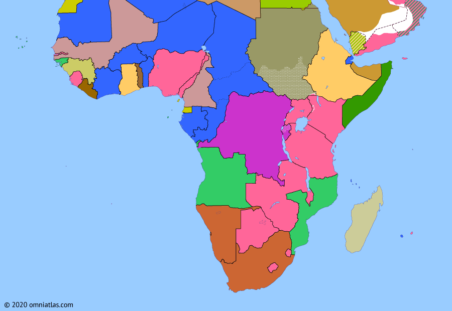 Political map of Sub-Saharan Africa on 26 Jun 1960 (Wind of Change: French Withdrawal from West Africa), showing the following events: Gerboise Bleue; Sharpeville massacre; Independence of Togo; Union of Central African Republics; Independence of Mali Federation; Independence of Madagascar; Independence of Somaliland.