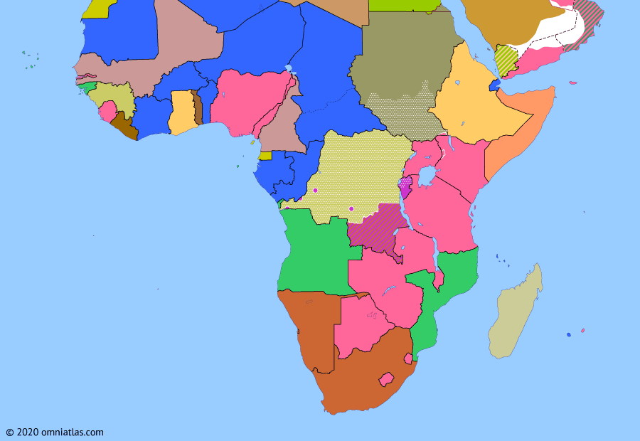 Political map of Sub-Saharan Africa on 14 Jul 1960 (Wind of Change: Congo Crisis), showing the following events: Independence of the Congo; Independence of Somalia; Force Publique mutiny; Belgian intervention in the Congo; Katanga secession; UNSC Resolution 143.