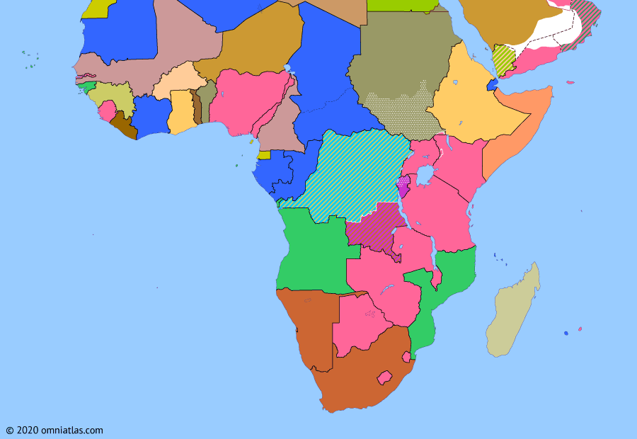 Political map of Sub-Saharan Africa on 05 Aug 1960 (Wind of Change: UN Operation in the Congo), showing the following events: UN deployment in Congo; Independence of Dahomey; Independence of Niger; UN deployment to Katanga; Independence of Upper Volta.