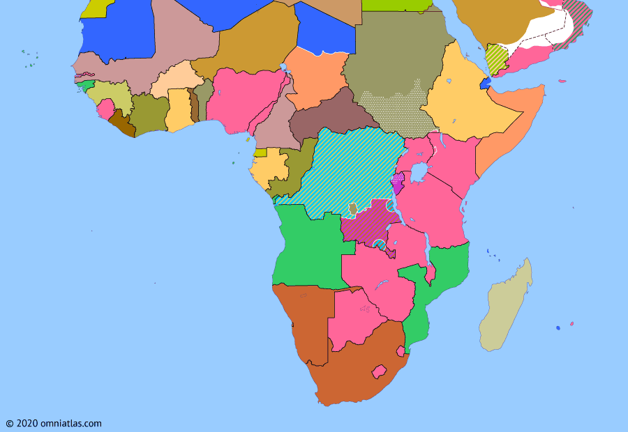 Political map of Sub-Saharan Africa on 17 Aug 1960 (Wind of Change: French Withdrawal from Equatorial Africa), showing the following events: Independence of Ivory Coast; Mining State of South Kasai; Independence of Chad; Independence of Central African Republic; Lumumba-Khrushchev agreement; Independence of Republic of Congo; Independence of Gabon.