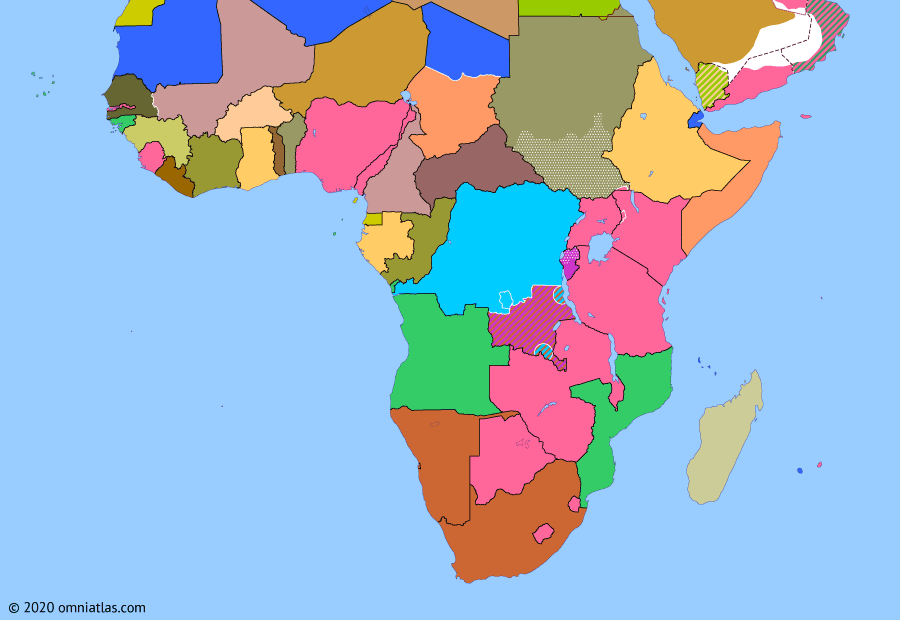 Political map of Sub-Saharan Africa on 05 Sep 1960 (Wind of Change: Fall of Lumumba), showing the following events: Independence of Senegal; South Kasai Campaign; Dismissal of Lumumba; UN intervention in the Congo.