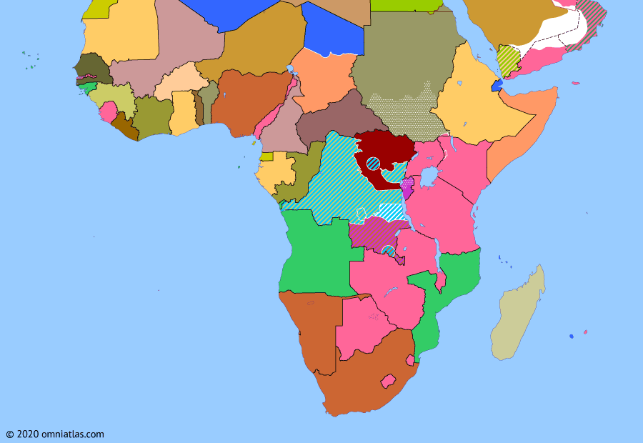 Political map of Sub-Saharan Africa 24 December 1960 (Year of Africa ends): In mid-September 1960 Colonel Mobutu (Mobutu Sese Seko) ended the governmental crisis in the Congo by seizing control and imprisoning PM Lumumba (Patrice Lumumba). Lumumba escaped a few months later only to be recaptured and murdered while attempting to reach his supporters in the east (Free Republic of the Congo). Meanwhile Nigeria - the UK's most populous African colony - and Mauritania gained independence, the last of the seventeen African nations to throw off foreign rule in 1960 (Year of Africa).