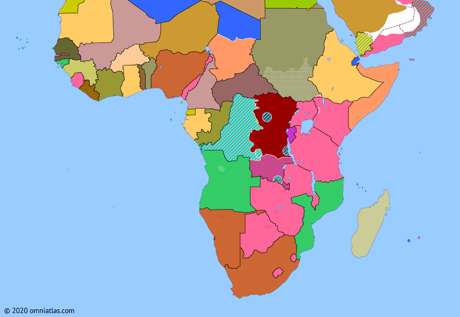 Political map of Sub-Saharan Africa 24 February 1961 (Discord over the Congo): The deposing and later assassination of Congolese PM Lumumba (Patrice Lumumba) divided the United Nations. The Eastern Bloc countries and many of the recently independent states, especially in Africa, continued to support Lumumba and his successor, Gizenga (Antoine Gizenga), as the legitimate leaders of the Congo. This strained the UN Operation in the Congo as African nations considered withdrawing their forces.