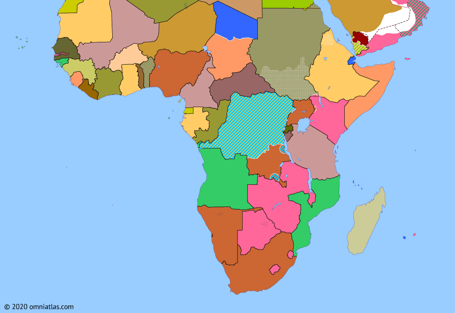 Political map of Sub-Saharan Africa on 09 Oct 1962 (Africa and the Cold War: Independence in East Africa), showing the following events: Independence of Tanganyika; Independence of Burundi; Independence of Rwanda; Independence of Algeria; North Yemen Civil War begins; Independence of Uganda.