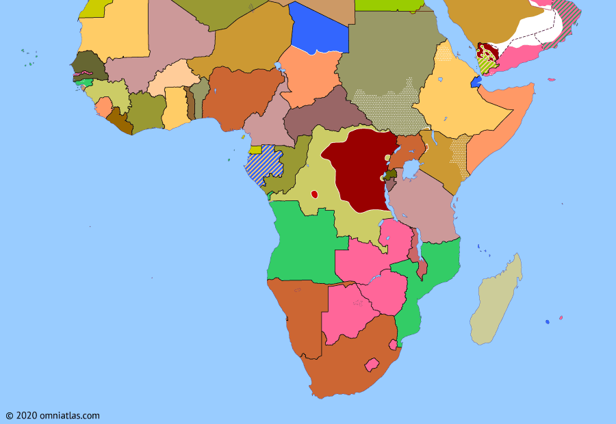 Political map of Sub-Saharan Africa on 24 Aug 1964 (Africa and the Cold War: Simba Rebellion), showing the following events: Dissolution of Rhodesia & Nyasaland; Kwilu Rebellion; Zanzibar Revolution; French intervention in Gabon; Simba Rebellion; Union of Tanganyika and Zanzibar; End of ONUC; Independence of Malawi.