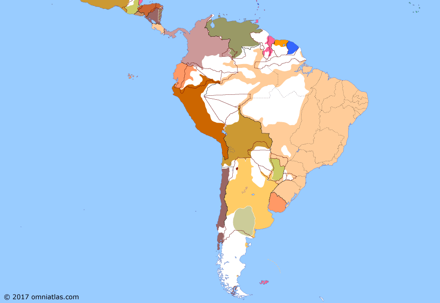 Political map of South American nations on 05 Jan 1869 (South America at War: Fall of Asunción), showing the following events: Treaty of Ayacucho; Siege of Mexico City; Siege of Humaitá; Pikysyry Campaign; Fall of Asunción.
