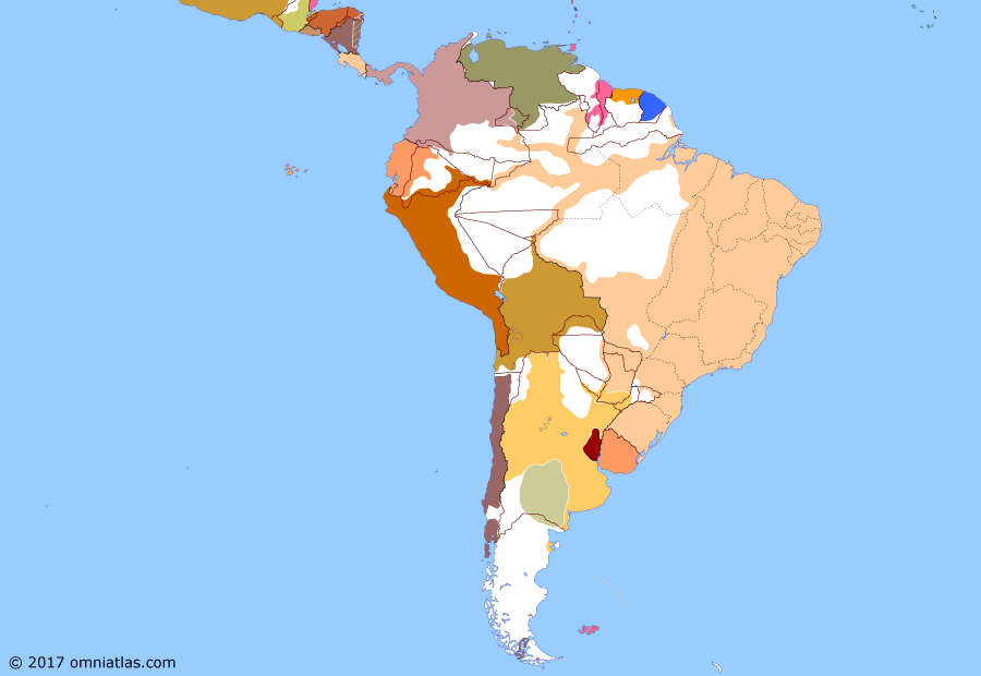 Political map of South American nations on 20 Jun 1870 (South America at War: Victory of the Triple Alliance), showing the following events: Paraguayan Triumvirate; Battle of Cerro Corá; First Jordanist Rebellion; Allied agreement with Paraguay.