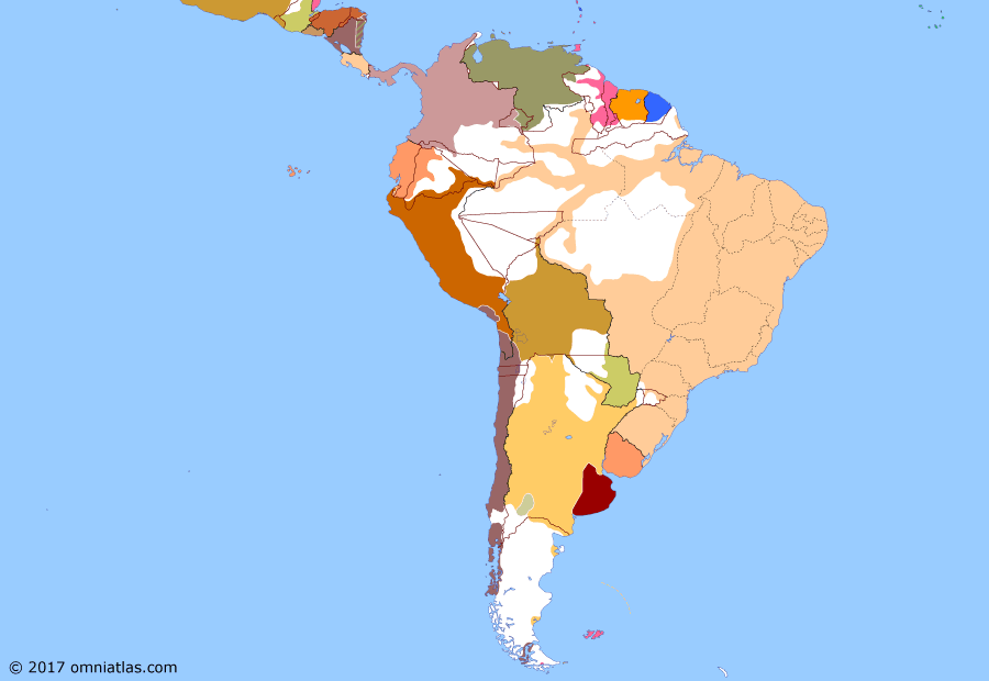 Political map of South American nations on 05 Jun 1880 (Rise of the Southern Cone: War of the Pacific), showing the following events: Amazon rubber boom; Battle of Angamos; Treaty of Decoud-Quijano; Battle of Pisagua; Tacna and Arica Campaign; Revolution of 1880.