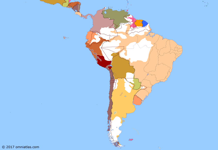 Political map of South American nations on 05 Nov 1883 (Rise of the Southern Cone: End of the War of the Pacific), showing the following events: Montero's mutiny; Mapuche uprising; Proclamation of Montán; Treaty of Mexico City; Treaty of Ancón; Cáceres's resistance.