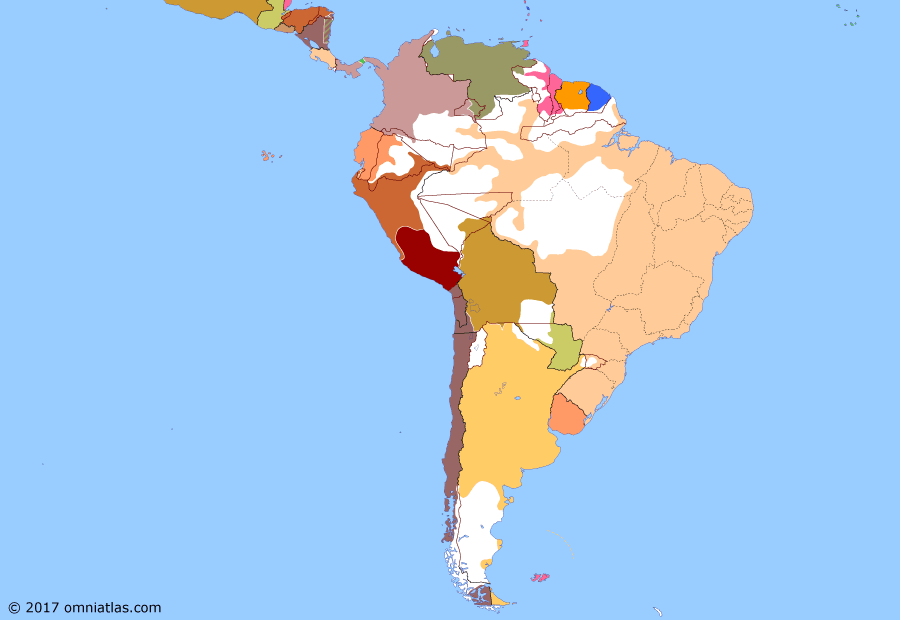 Political map of South American nations on 28 Apr 1885 (Rise of the Southern Cone: Panama Crisis), showing the following events: Tierra del Fuego gold rush; Namuncurá's surrender; Treaty of Valparaiso; Peruvian civil war; Panama Crisis.