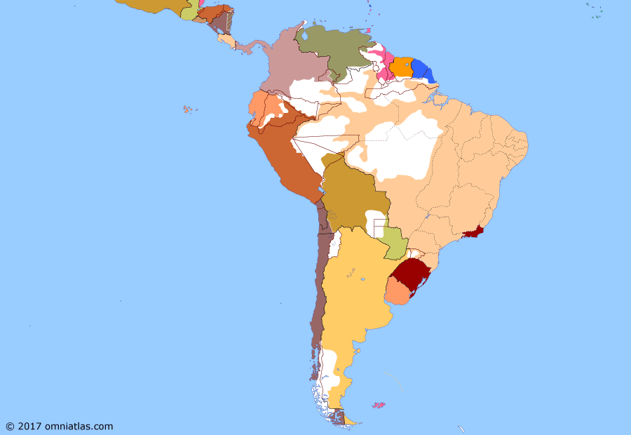 Political map of South American nations on 15 Nov 1889 (Rise of the Southern Cone: Proclamation of the Republic of Brazil), showing the following events: Lei Áurea; Annexation of Easter Island; Treaty of Quirno Costa-Vaca Guzmán; Proclamation of the Republic of Brazil.