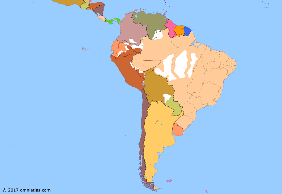 Political map of South American nations 26 November 1908 (Rio Branco's Treaties): The scramble for resources, especially rubber (Amazon rubber boom), in the South American interior in the late 19th and early 20th centuries saw a flurry of border settlements as the nations of the continent attempted to make the most of their old and conflicting claims without risking costly wars. Most successful was Brazil, which, thanks in large part to the diplomacy of the Baron of Rio Branco, consolidated its frontiers by negotiating numerous favorable treaties between 1895 and 1909.