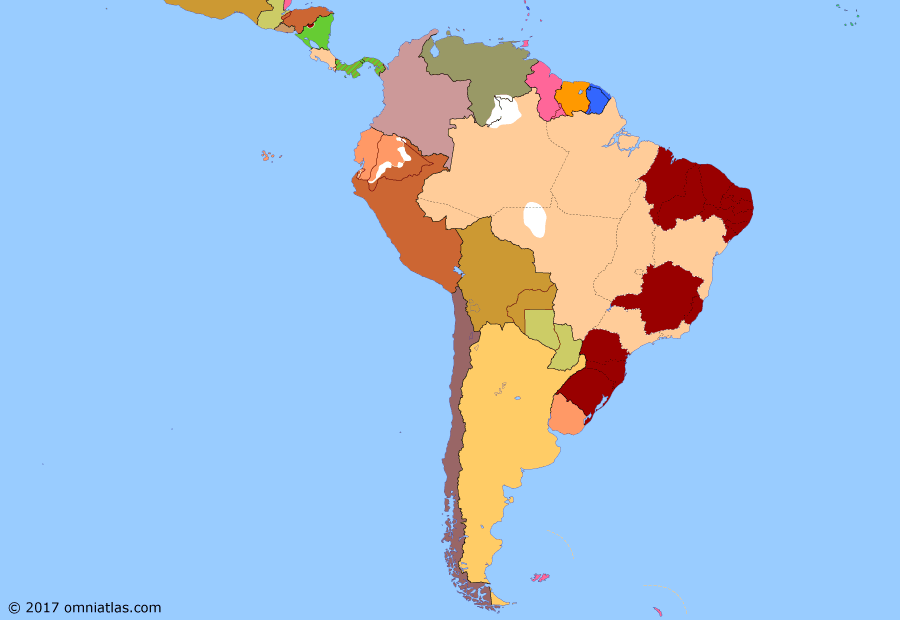 Political map of South American nations on 24 Oct 1930 (Border disputes and the Powers: Vargas Revolution), showing the following events: US intervention in Nicaragua; Treaty of Lima; Wall Street Crash; Princesa Revolt; Territory of Inini; Peruvian Coup; Infamous Decade; Vargas Revolution.