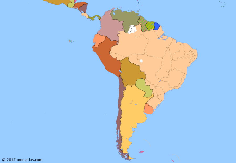 Political map of South American nations on 20 Apr 1945 (Pax Americana: South America in World War II), showing the following events: Battle of Stalingrad; Free French victory in West Indies; Bolivia enters World War II; Reorganization of Brazil; Colombia enters World War II; D-Day; Ecuador enters World War II; Paraguay enters World War II; Peru enters World War II; Chile enters World War II; Venezuela enters World War II; Uruguay enters World War II; Argentina enters World War II.