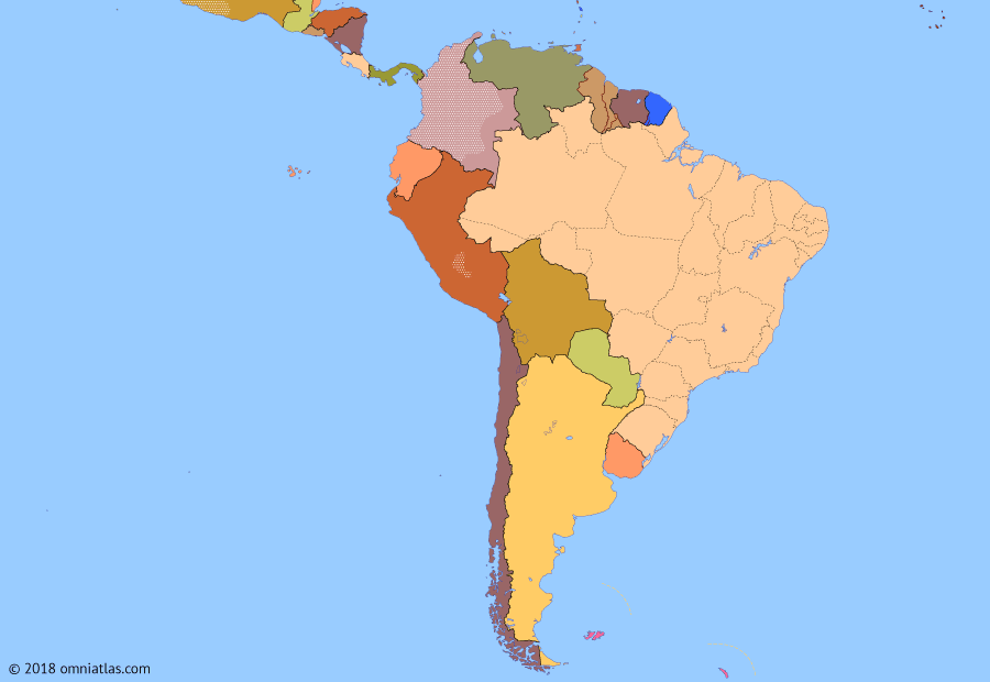 Political map of South American nations on 11 Jan 2012 (Pax Americana: Pink Tide), showing the following events: Capture of Abimael Guzmán; Guatemalan Peace Agreements; Cenepa War; Bolivarian Revolution; September 11 Attacks; Mexico leaves T.I.A.R.; Operation Iraqi Freedom; Cuba-Venezuela Agreement; Mexican Drug War; Subprime mortgage crisis; UNASUR Constitutive Treaty.