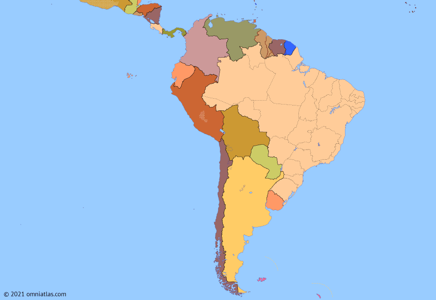 Political map of South American nations on 15 Jan 2021 (Pax Americana: South America Today), showing the following events: ALBA nations leave TIAR; Colombian peace process; Crisis of Bolivarian Venezuela; Latin American Spring; COVID-19 in South America.