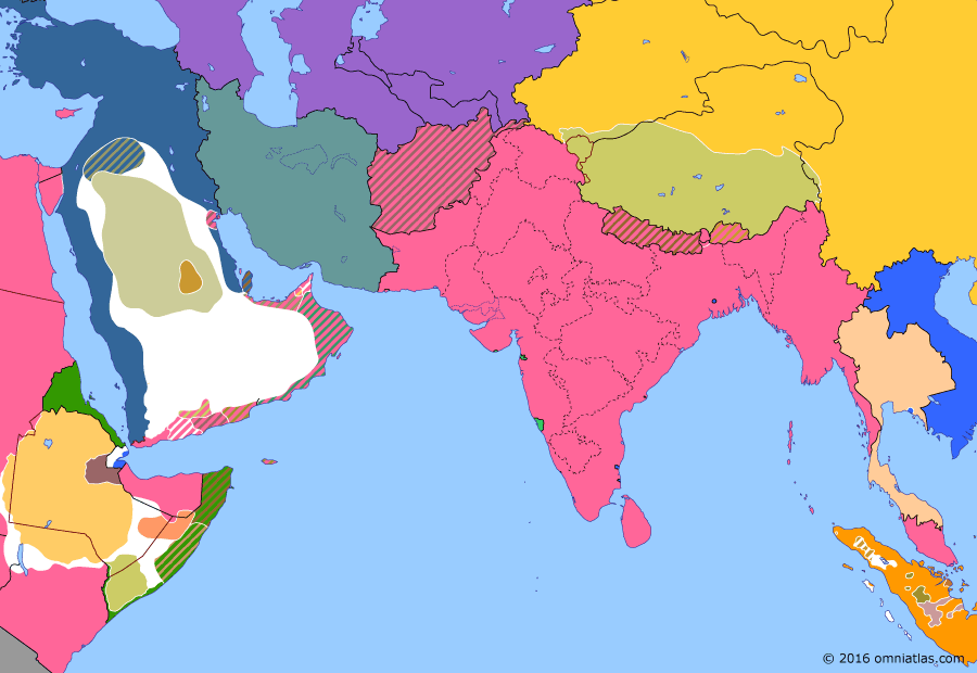 Political map of South & Southwest Asia on 15 Jan 1902 (Pax Britannica: Saudi Restoration), showing the following events: Boxer Rebellion; Saudi return to Nejd; D'Arcy Concession; Saudi capture of Riyadh.