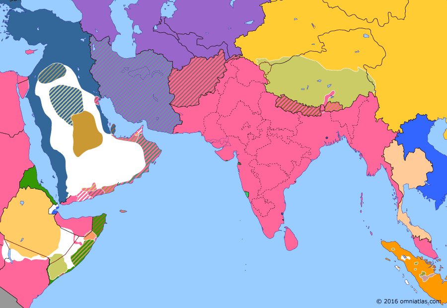 Political map of South & Southwest Asia on 03 Aug 1904 (Pax Britannica: British Expedition to Tibet), showing the following events: Anglo-Japanese Alliance; Russian influence in Persia; British expedition to Tibet; Battle of Port Arthur; Entente Cordiale.