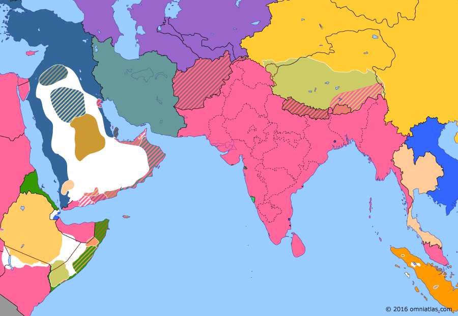 Political map of South & Southwest Asia on 16 Oct 1905 (Pax Britannica: Partition of Bengal), showing the following events: Zaidi Revolt in Yemen; 1905 Russian Revolution; Treaty of Portsmouth; Partition of Bengal.