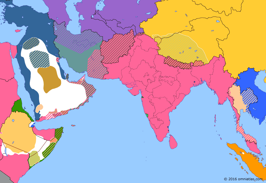 Political map of South & Southwest Asia on 31 Aug 1907 (Pax Britannica: Anglo-Russian Entente), showing the following events: Anglo-Chinese Convention; Persian Constitution of 1906; Founding of All-India Muslim League; Anglo-French Agreement on Siam; Anglo-Russian Entente.