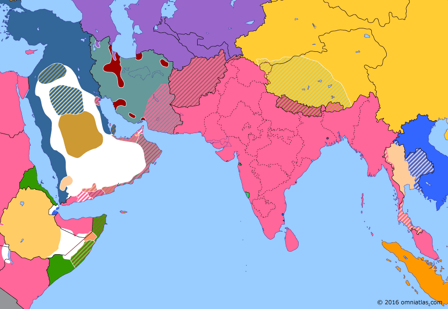 Political map of South & Southwest Asia on 15 Jul 1909 (Pax Britannica: Persian Constitutional Revolution), showing the following events: Masjed Soleyman oil strike; Persian Constitutional Revolution; Young Turk Revolution; Anglo-Siamese Treaty; Foundation of Anglo-Persian Oil Company; Russian intervention in Persia.