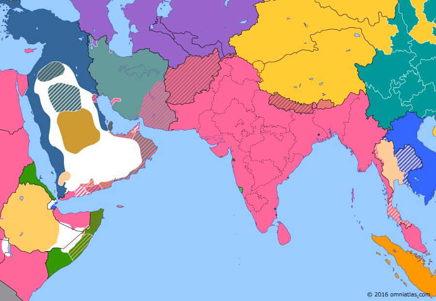 Political map of South & Southwest Asia on 13 Nov 1911 (Pax Britannica: Chinese Revolution), showing the following events: China occupation of Lhasa; Morgan Shuster in Persia; Ex-Shah's Invasion; British intervention in Shiraz; Xinhai Revolution.