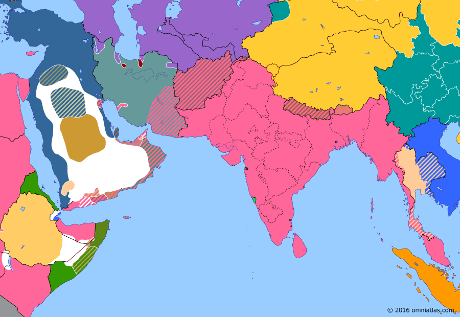 Political map of South & Southwest Asia on 24 Dec 1911 (Pax Britannica: Strangling of Persia), showing the following events: Second Russian Ultimatum to Persia; Russian intervention in Persia; Delhi Durbar of 1911; 1911 Persian Coup.