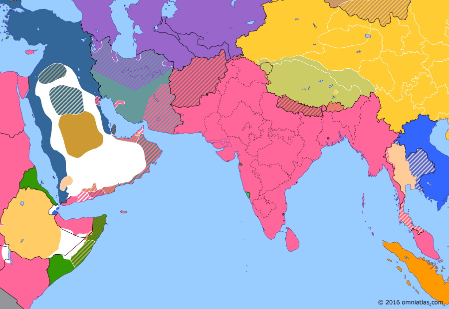 Political map of South & Southwest Asia on 17 Aug 1912 (Pax Britannica: Tibetan Independence), showing the following events: Yuan Shikai becomes President; Reunification of Bengal; Tibetan Independence; Italian invasion of the Dodecanese; British note on Tibet.