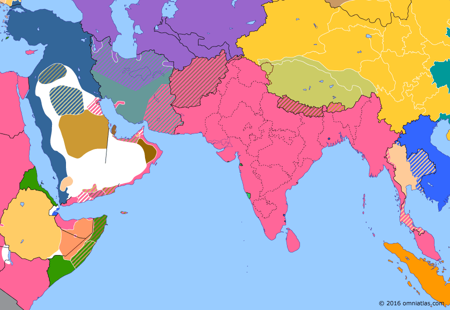 Political map of South & Southwest Asia on 29 Jul 1913 (Pax Britannica: Anglo-Ottoman Convention), showing the following events: Balkan Wars; Conquest of al-Hasa; Imamate of Oman; Second Chinese Revolution; Anglo-Ottoman Convention.