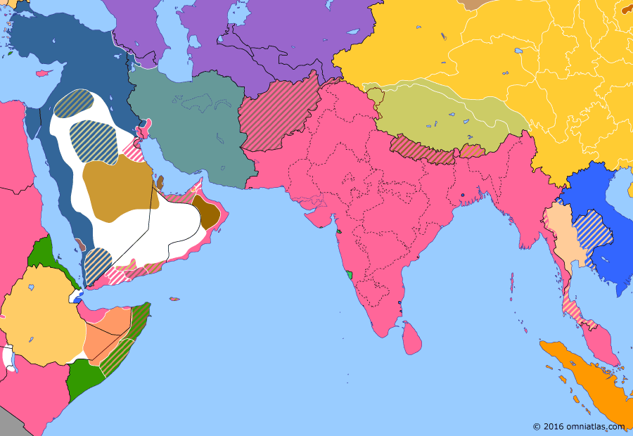 Political map of South & Southwest Asia on 29 Jan 1915 (The Great War in the Middle East: Ottoman Raids in Persia and Sinai), showing the following events: Ottoman occupation of Tabriz; Japan's Twenty-One Demands; Battle of Jarrab; Raid on the Suez Canal; Ottoman expedition to Ahvaz.